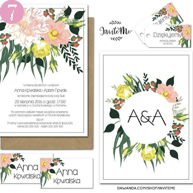 kolorowe zaproszenia ślubne, kwiaty na zaproszeniach ślubnych, motyw kwiatowy na ślubie