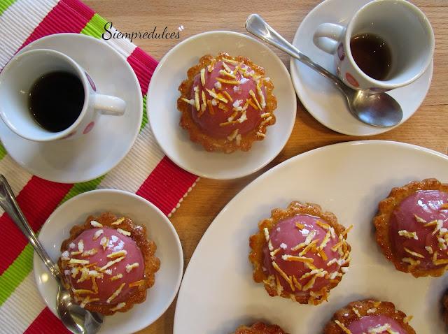 Tartaletas de naranja y frambuesa (Siempredulces)