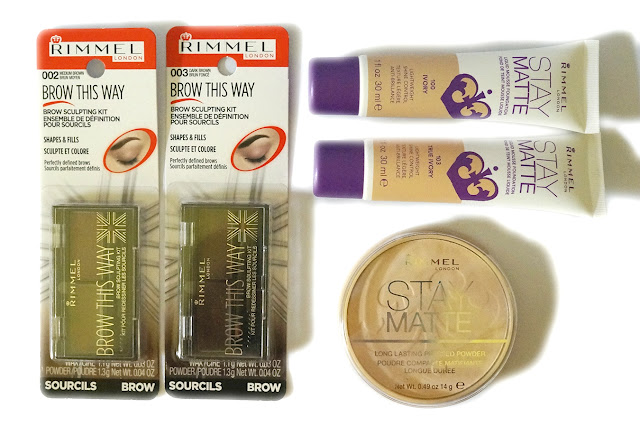Rimmel London Brow This Way, Stay Matte Pressed Powder, Stay Matte Liquid Foundation