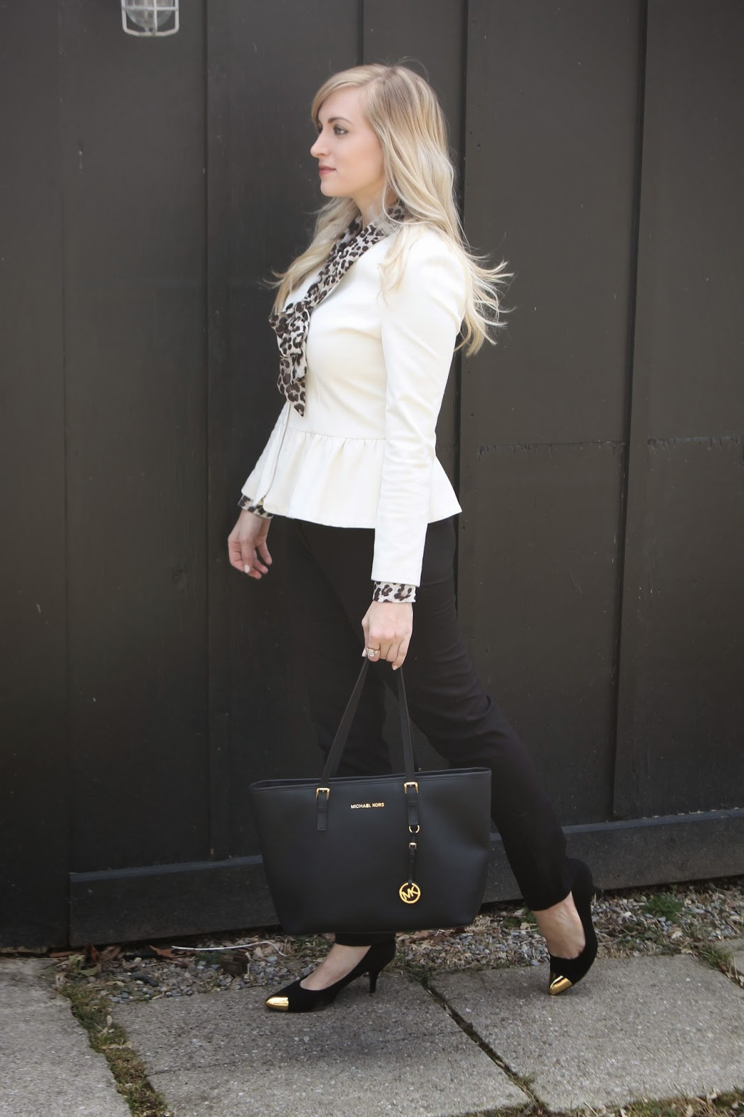 cream peplum blazer outfit