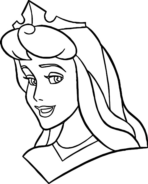Disney Princess Sleeping Beauty Face Coloring Page