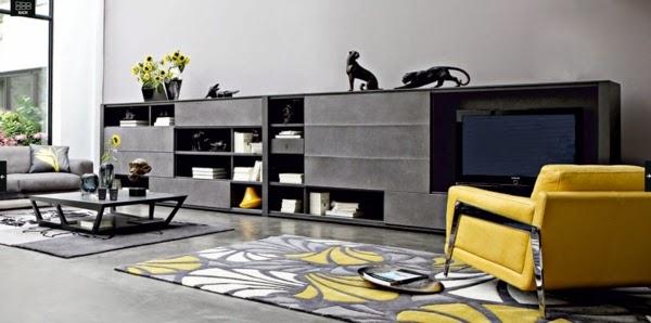 salón amarillo y gris