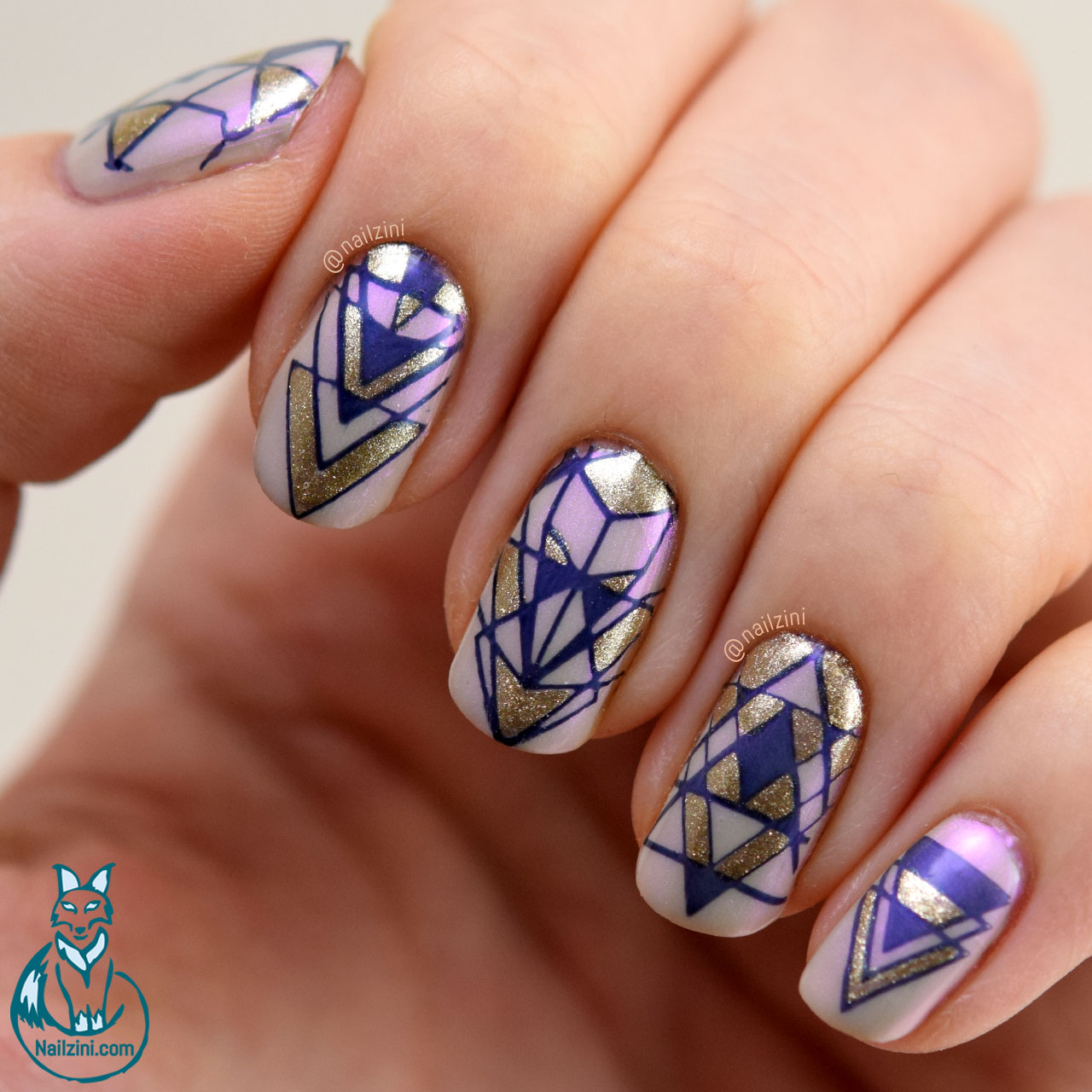 Geometric Reverse Stamping Nail Art -- Born Pretty Review