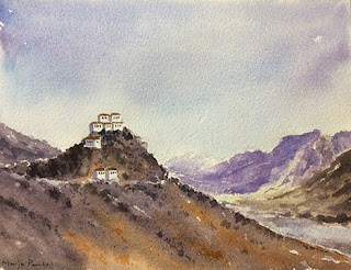 water colour painting of Key Monastery in Spiti Valley by Manju Panchal