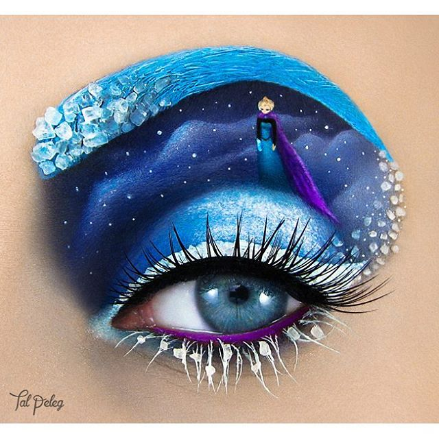 03-Frozen-Elsa-Tal-Peleg-Body-Painting-and-Eye-Make-Up-Art-www-designstack-co