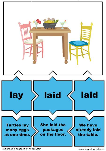english grammar game irregular verbs puzzles verb lay