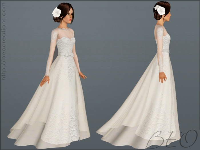 My Sims 3 Blog: Wedding Dress 28 & Bouquet By BEO