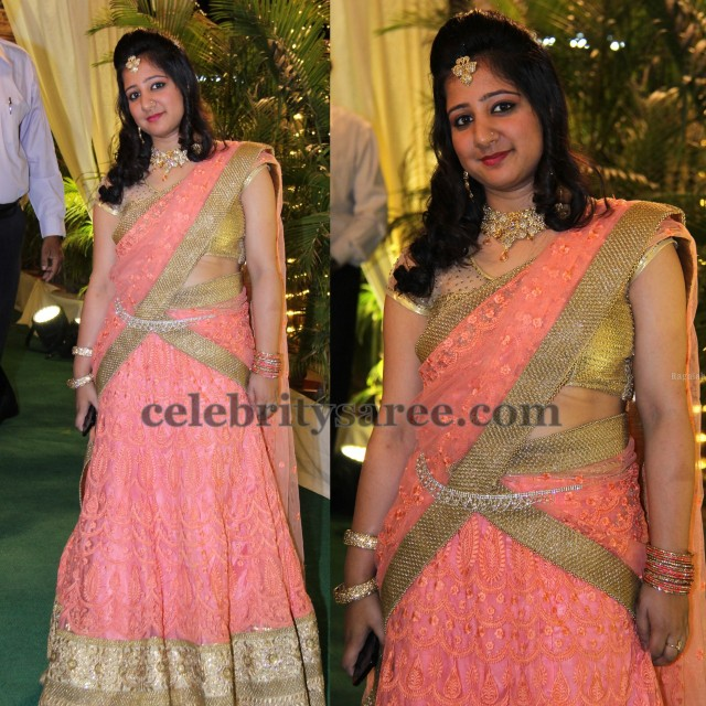 Peach Net Weave Half Saree
