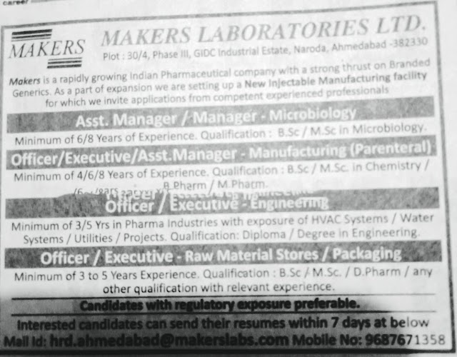 Makers Laboratories - Urgent Openings for Microbiology / Manufacturing / Engineering / RM Stores / Packing