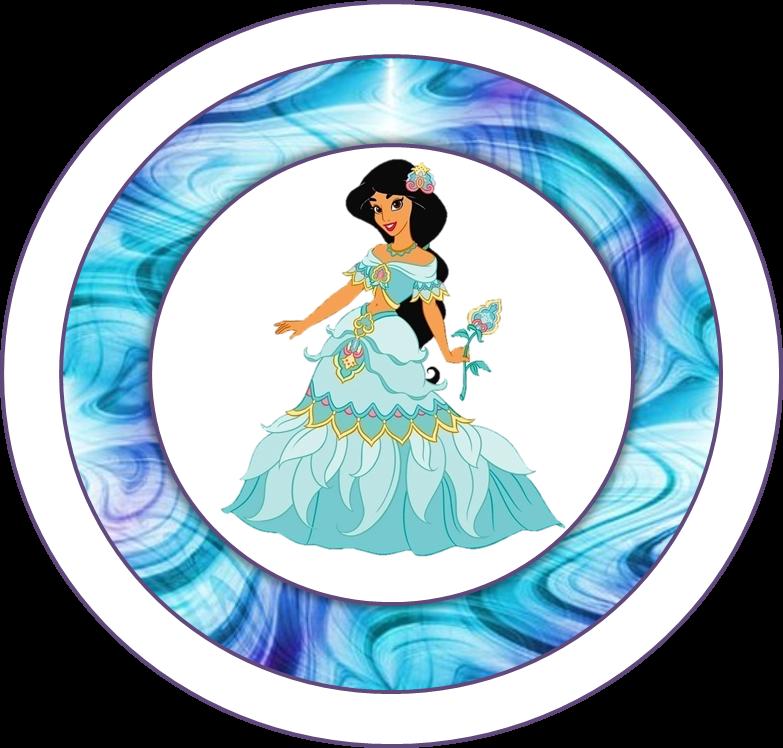 Toppers o Etiquetas de Jazmine Vestida de Princesa para imprimir gratis.