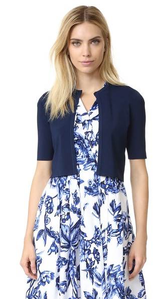Cropped Short Body Blazer with White Base Blue Floral