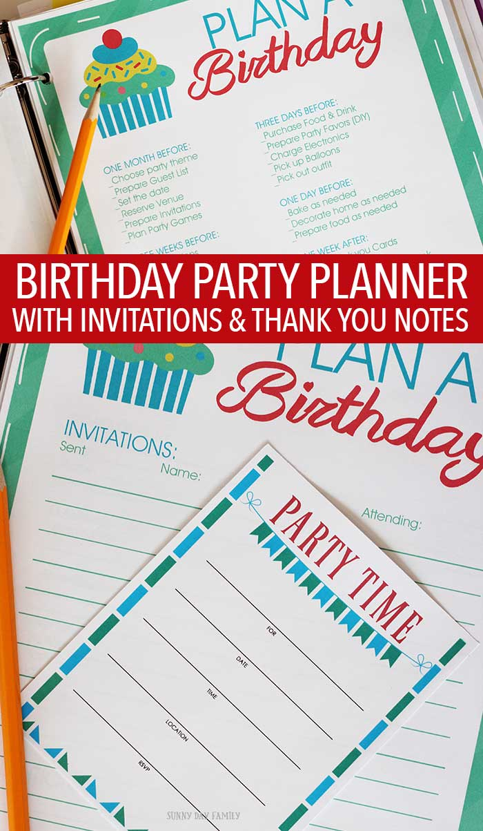 Everything you need to plan a birthday party! Planning pages, checklists, and printable invitations and thank you notes in two color schemes! Perfect for planning your kid's birthday party. Love this idea! Birthday Party | Kids Parties | Party Planning | Printable Planners | Planning & Orgnanizing
