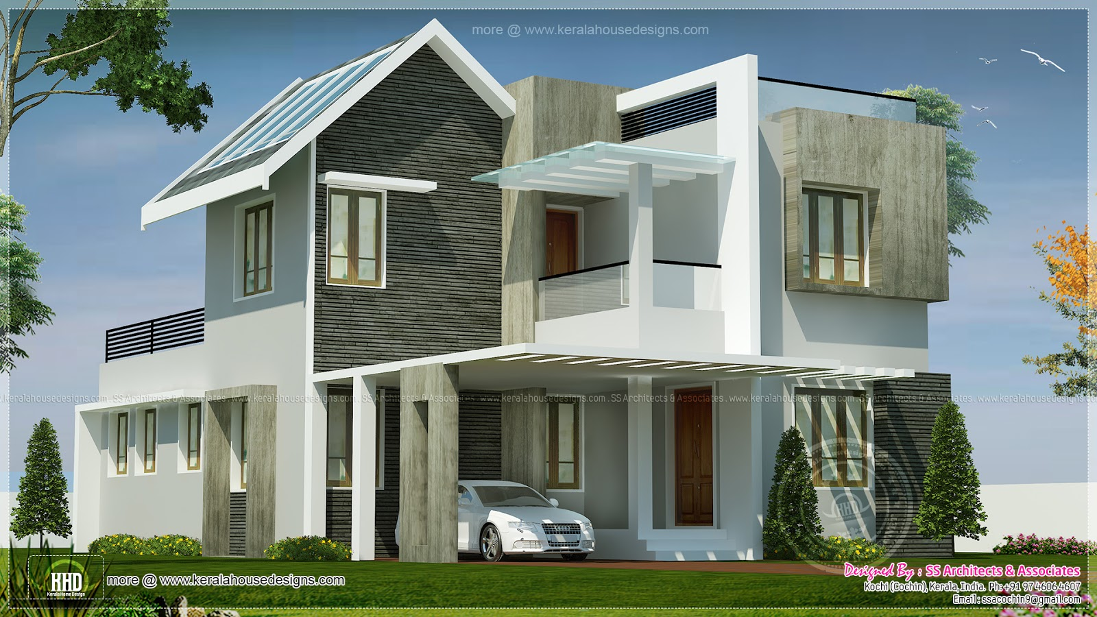 Beautiful double storey villa in 1950 home for Beautiful home designs