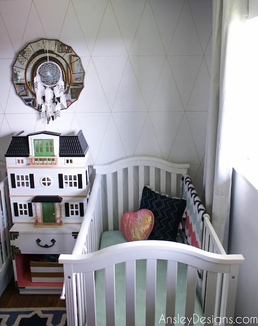 Navy, Coral, & Mint Green Girls Shared Nursery
