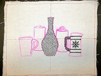 Blackwork embroidery, Step 2: the Pitcher