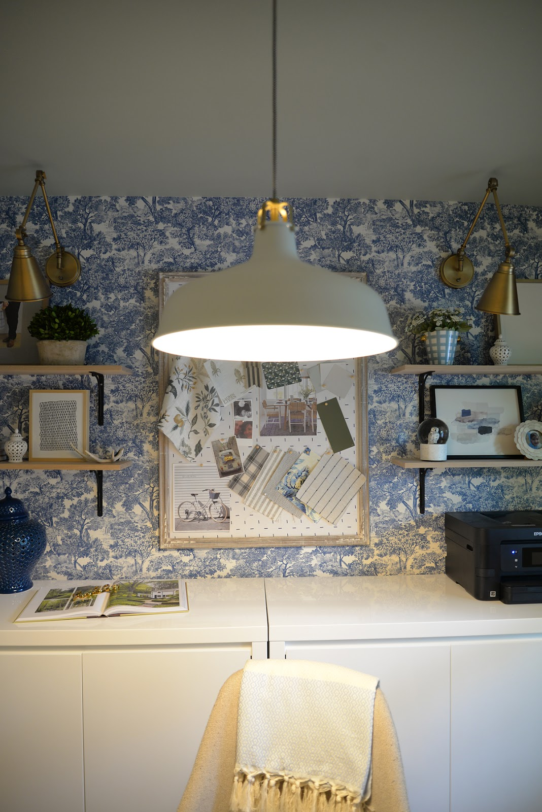 feminine home office, modern traditional office, Rambling Renovators, wallpaper and brass sconces, IKEA Ranarp pendant
