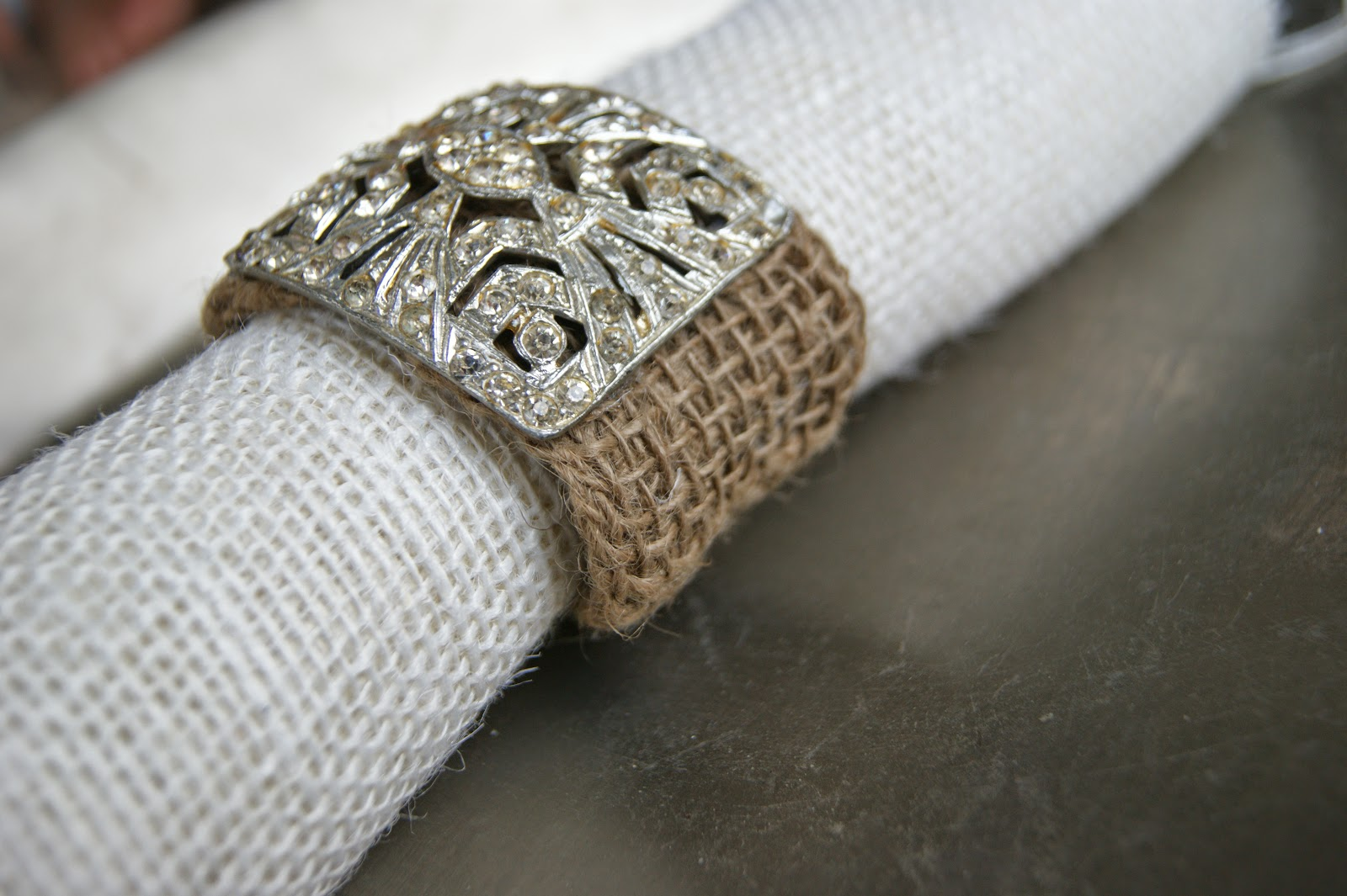 Burlap Vintage Jeweled Bracelet
