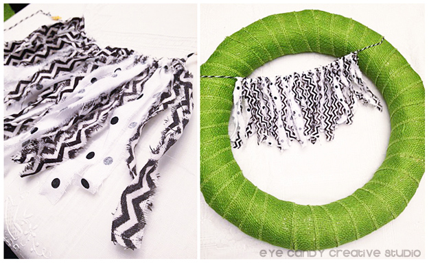 fabric strip bunting for fall wreath, green burlap wreath, black and white