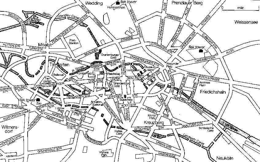 Карты Берлина с туннелями, действовавшими в 1945 г.