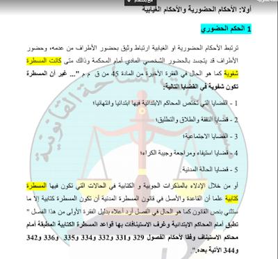بحث تحت عنوان تصنيف الأحكام طبقا لقانون المسطرة المدنية بصيغة PDF