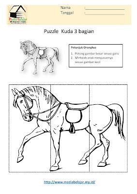Lembar Kerja Paud Puzzle Kuda 3 Bagian