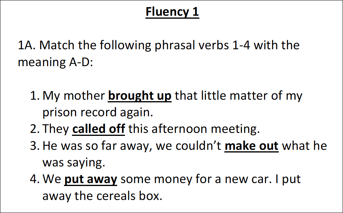 Love English: Fluency: Working with Phrasal verbs