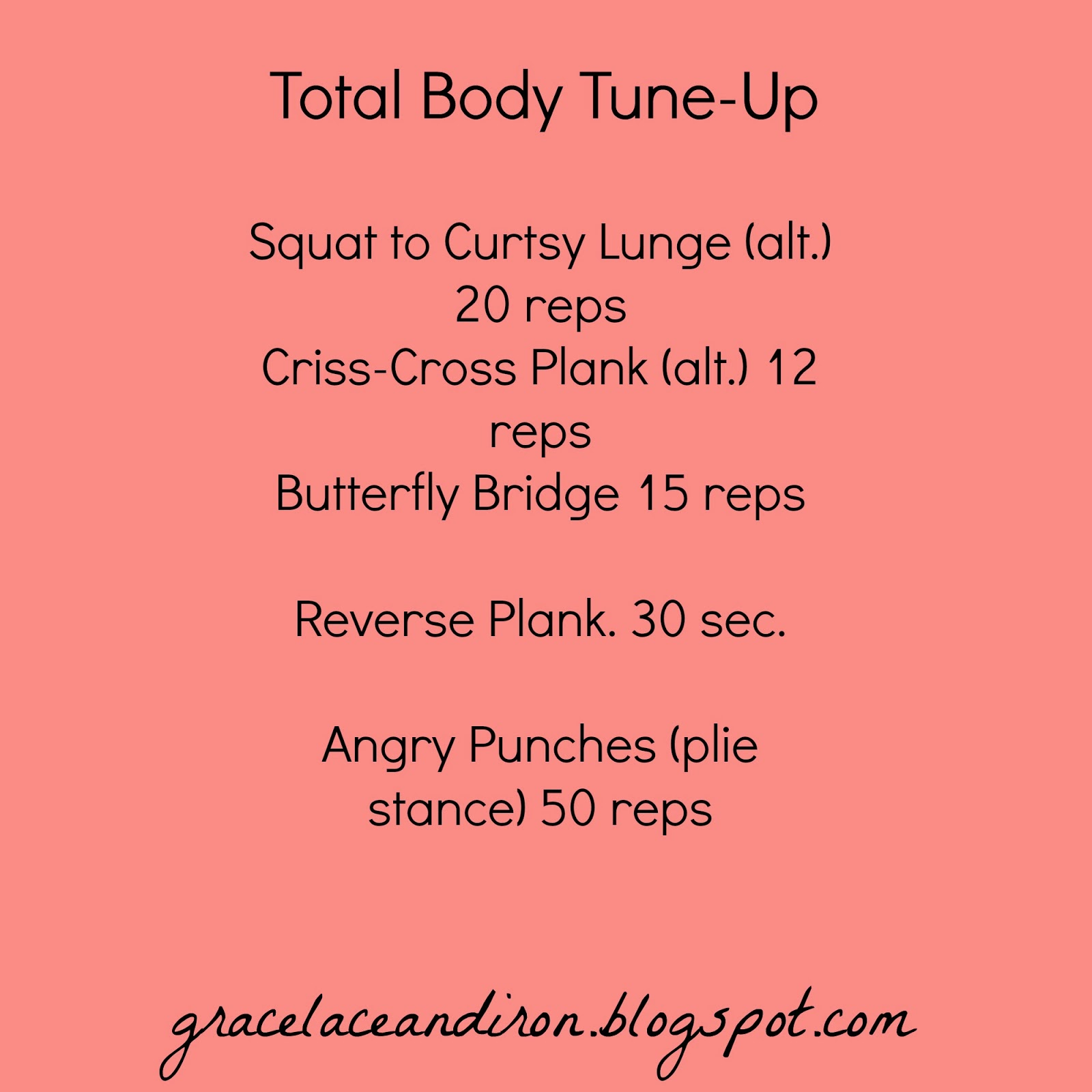 Five Feet Apart Julie: Grace, Lace, And Iron: Workout Wednesday: Total Body Tune-up