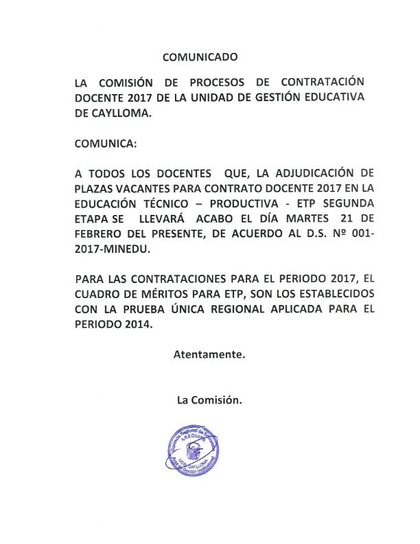 Convocatoria para contrato docente 2017 educaci n t cnico for Convocatoria para docentes