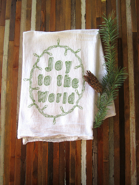 joy to the world christmas tea towel from oh little rabbit