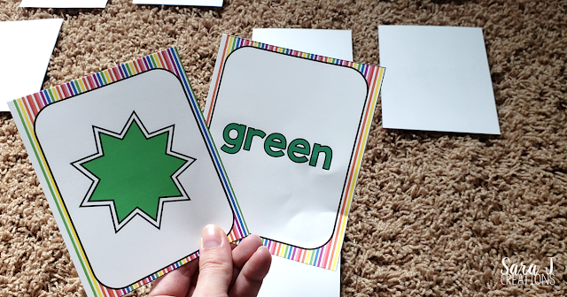 Learning colors memory game green cards