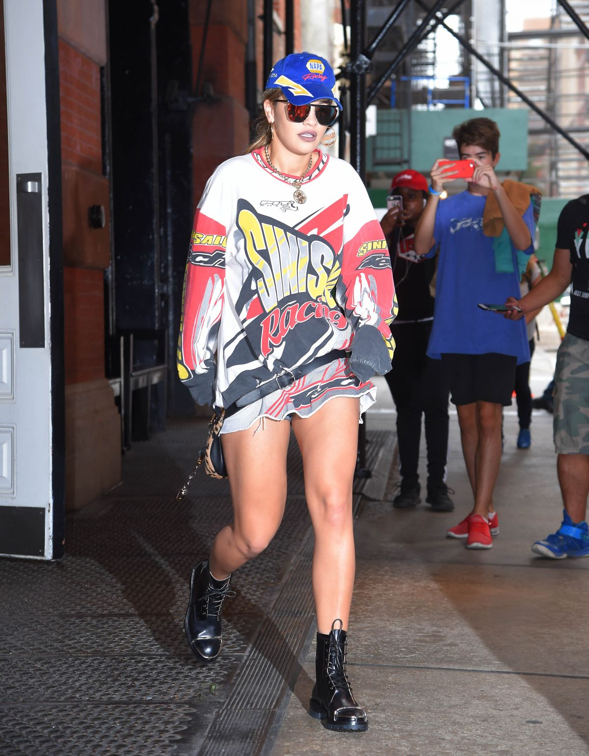 HQ Photos of Rita Ora in mini dress Leaves Her Hotel in New York