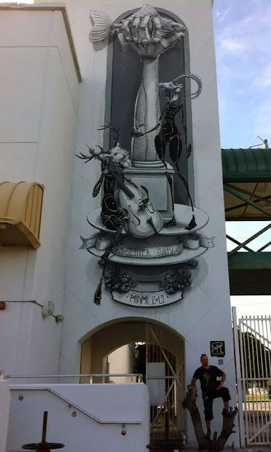 """Together Guilty"" New Street Art Mural By German Artist Dome For Art Basel Miami 2013. 4"