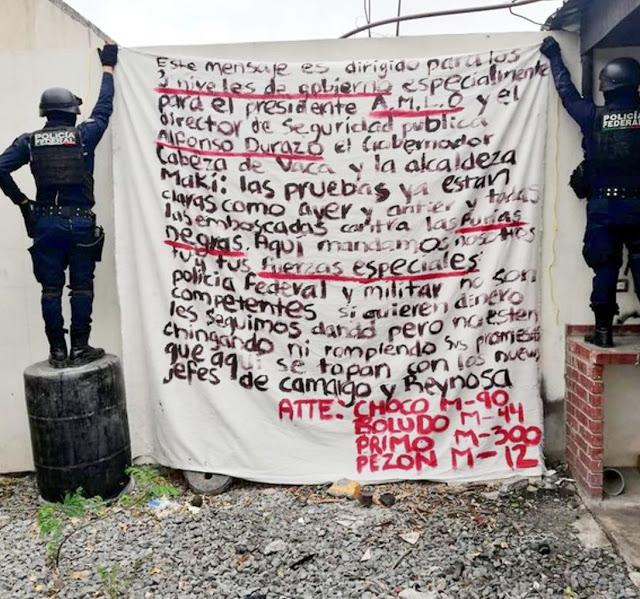 Cartel del Golfo amenaza en Narcomanta al Presidente Obrador en Reynosa, Tamaulipas