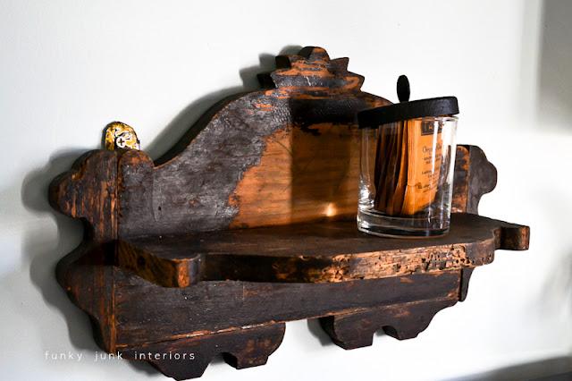 Snooping inside junker Bella Rustica Linda's house via Funky Junk Interiors - cute wooden shelf