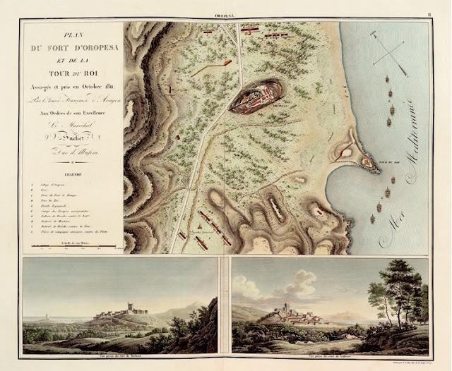 Grabado: Vista de Oropesa y de la Torre del Rey, en Atlas de Mémoires du maréchal L. G. Suchet, duc de l'Albufera…, Paris, 1828. Archivo José Huguet. Valencia.