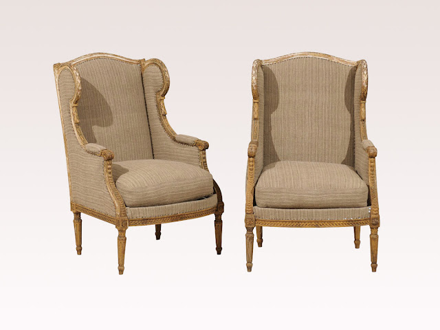 A Pair Of 19th Century French Louis XVI Style Wingback Chairs