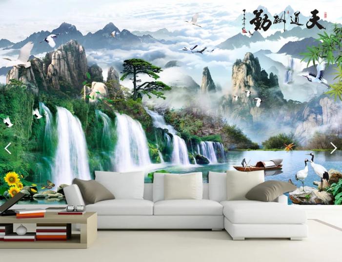 Tranh dán tường 3d thác nước núi đồi chim hạc