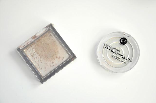 brązer kobo matt bronzing&contouring powder nubian desert, rozświetlacz bell hypoallergenic face&body illuminating powder