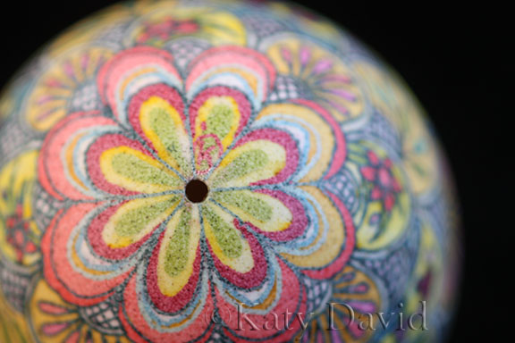 "©Katy David 2017 ""Parasol Scallops"" Goose egg Pysanky in yellow, blue, pink, red, green"