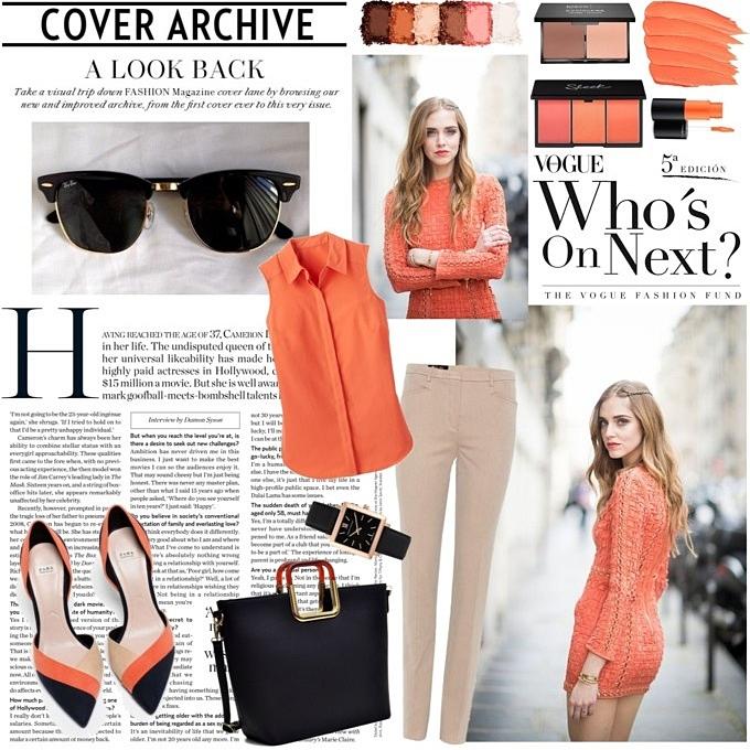 Jelena Zivanovic Instagram @lelazivanovic.Orange chic looks.