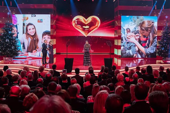 Queen Rania accepted the Golden Heart Award at A Heart for Children charity organization's 16th Gala in Berlin on Saturday, in recognition of her global humanitarian work to support children's rights and their education.