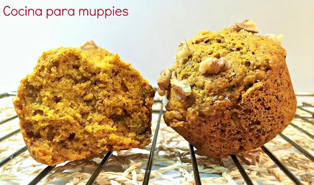 """alt=""""muffins integrales de calabaza con nueces"""""""