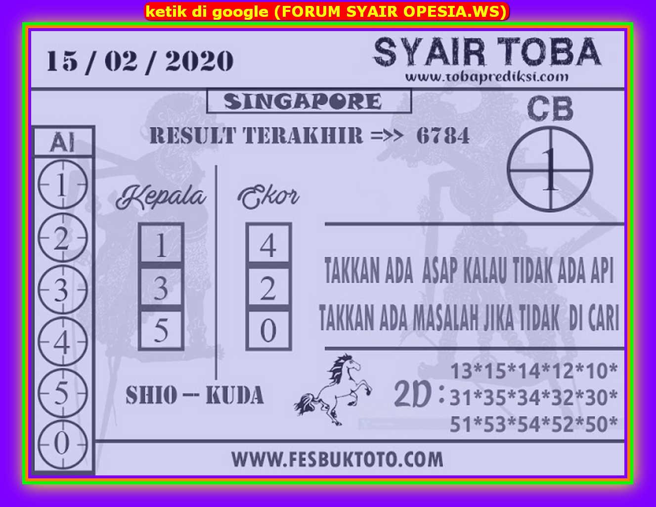Kode syair Singapore Sabtu 15 Februari 2020 136