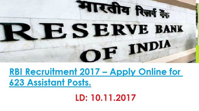 Reserve Bank of India 623 Assistant Posts Recruitment 2017 rbi.org.in