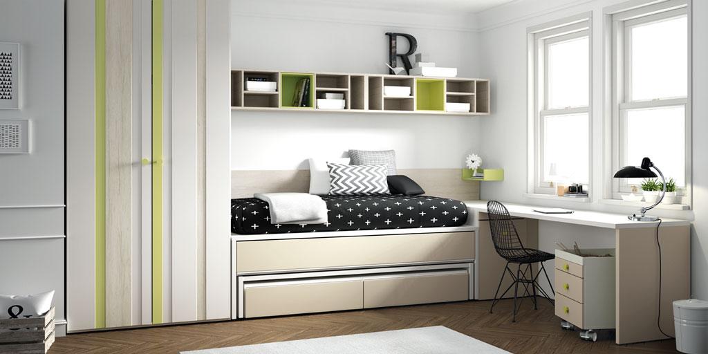 Si dispones de poco espacio las camas abatibles for Habitaciones compactas