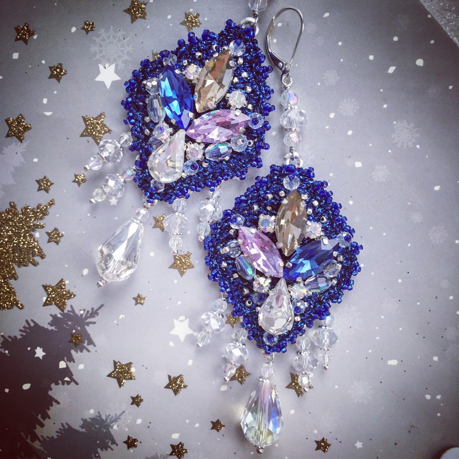 Beautiful Vintage Inspired Hand Embroidered Chandelier Earrings OOAK
