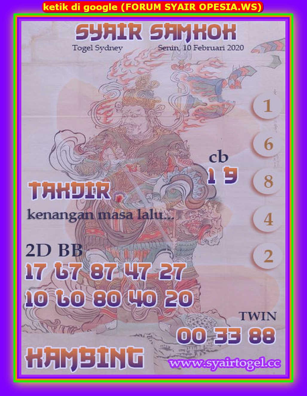 Kode syair Sydney Senin 10 Februari 2020 119