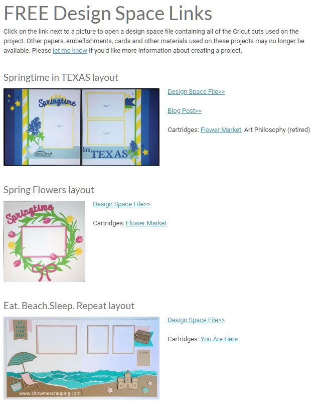 Show Me Scrapping Blog: FREE Cricut Design Space Project links!