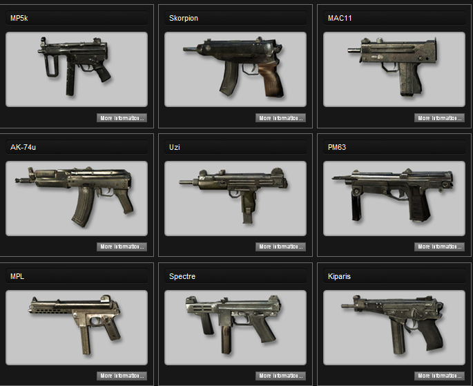 <b>Call</b> <b>of</b> <b>Duty</b>: <b>Black</b> <b>Ops</b> - Weapons List - Sub <b>Machine</b> <b>Guns</b>