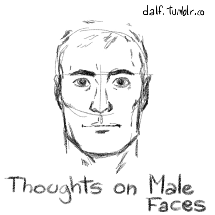 Thoughts on male face drawing sketches and other stuff